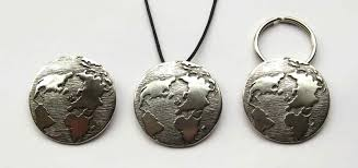 planet earth pewter christmas ornament