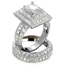 wedding set elisabetta s grand emerald cut synthetic diamond wedding set