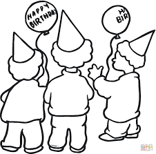 boys in party hats coloring page free printable coloring pages