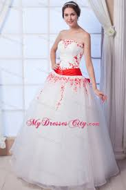 new arrival ball gown organza red appliques wedding gowns