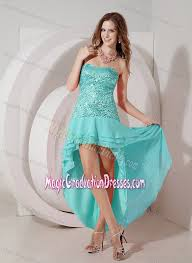 8th grade social dresses blue high low graduation dresses strapless decorated sequins
