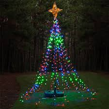diy ideas make a tree of lights using a basketball pole