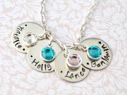 mothers necklace with kids birthstones birthstone necklace sted mothers gift kids names