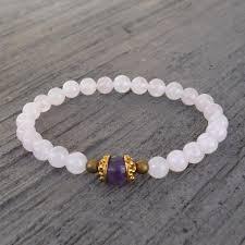 rose quartz bead bracelet images Healing genuine rose quartz and amethyst guru bead bracelet jpg