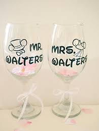 wedding gift personalized custom wine glasses couples mouse wedding gift