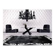 Patchwork Cowhide Rug Patchwork Cowhide Rug Leather Carpets Black Silver Homedeco High