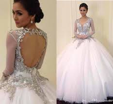new arrival wedding ball gowns 2018 sheer long sleeves ball gown