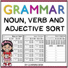 grammar worksheets noun verb adjective sort by learning desk tpt