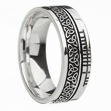 celtic knot wedding bands silver knot and ogham wedding style band
