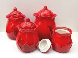 canister set kitchen flower shaped jars storage coffee tea sugar