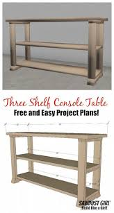 free plans for this easy three shelf console table from sawdust