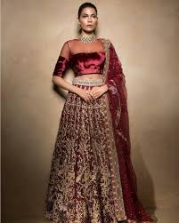 bridal wear indian bridal dress maroon lehenga choli