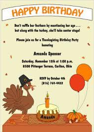 thanksgiving turkey birthday invites