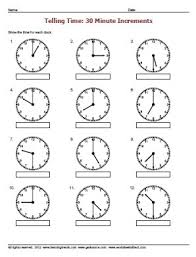 telling time half hour telling time to the nearest half hour worksheets