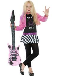 80s girls fancy dress costume rock diva kids rockstar