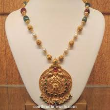 antique necklace pendants images Gold beaded necklace with antique pendant south india jewels jpg