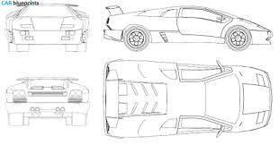 lamborghini diablo drawing car blueprints lamborghini diablo blueprints vector drawings
