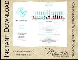 folded wedding program template silhouette wedding programs diy tri fold customizable instant