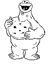 cookie monster eat bread sesame street coloring pages