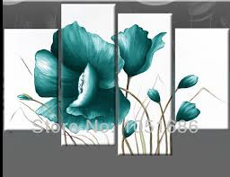 Home Decor Teal Canvas Home Decor With Framed Panel Painting On Canvas Wall