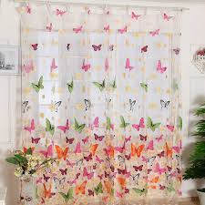 Panel Curtains Room Dividers Amazon Com Outtop Butterfly Print Sheer Window Panel Curtains