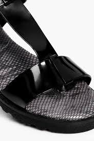 boohoo mae t bar low heel sandal jelly in black lyst