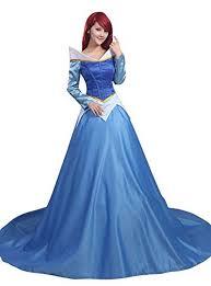 sleeping beauty princess aurora blue satin costume dress on