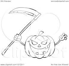 cartoon of an outlined scary halloween pumpkin with a scythe