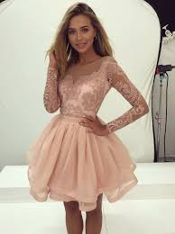 buy a line bateau pearl pink tulle homecoming dress with appliques
