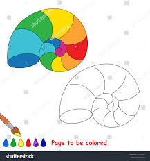 rainbow seashell colored coloring book stock vector 637589827