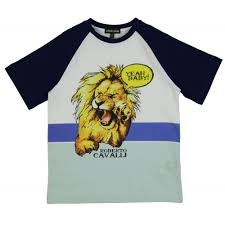 lion print roberto cavalli kids boys white baseball t shirt with lion print