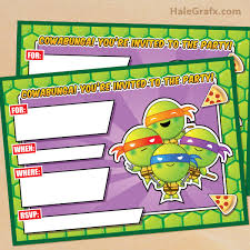 printable tmnt ninja turtle birthday invitation