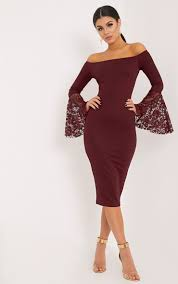 pretty thing dresses pretty thing tayler burgundy bardot lace flared sleeve