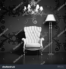 3d interior scene classic armchair lamp stock illustration