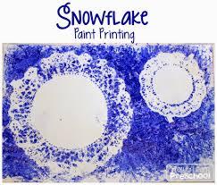 snowflake print painting process art for preschoolers