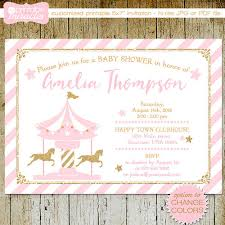 carousel baby shower carousel baby shower printable carousel invite pink gold