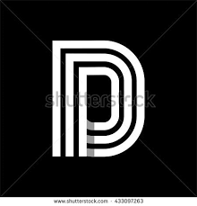 capital letter d made three white stock vector 433097263
