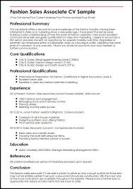 Sample Resume Of Sales Associate by Fashion Sales Associate Cv Sample Myperfectcv