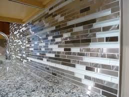 kitchen glass and steel tile contemporary kitchen idea modern