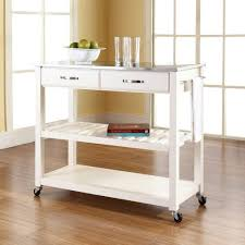 crosley white kitchen cart with stainless steel top with kitchen