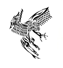 flying tribal griffin tattoo design by edsonklein