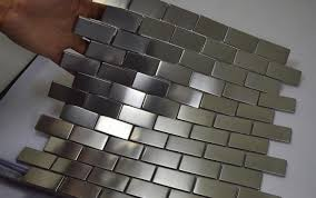 metal tiles for kitchen backsplash free shipping silver color stainless steel metal mosaic tiles