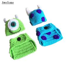Crochet Baby Halloween Costumes Mike Sulley Monster Handmade Knit Crochet Baby Boy