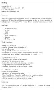 Opening Statement For Resume Example by Sample Salesforce Resume Gallery Creawizard Com