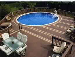 greenery placed around above ground pool patio ideas 2168