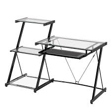 Metal And Glass Computer Desks Z Line Designs Nero Modern Metal And Glass Desk Bookcase Zl2021dbu
