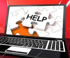 Laptop Help Desk Help Laptop Shows Helping Service Helpdesk Or Support Stock