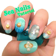 sea nails tutorial easy nail art for beginners youtube