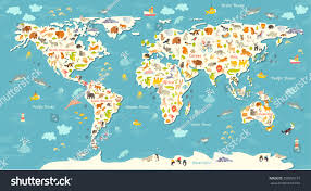 Pictures Of World Map by Animals World Map Beautiful Cheerful Colorful Stock Vector