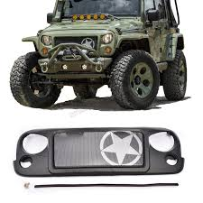 jeep wrangler front grill high quality abs avenger mesh grill five pointed star black front